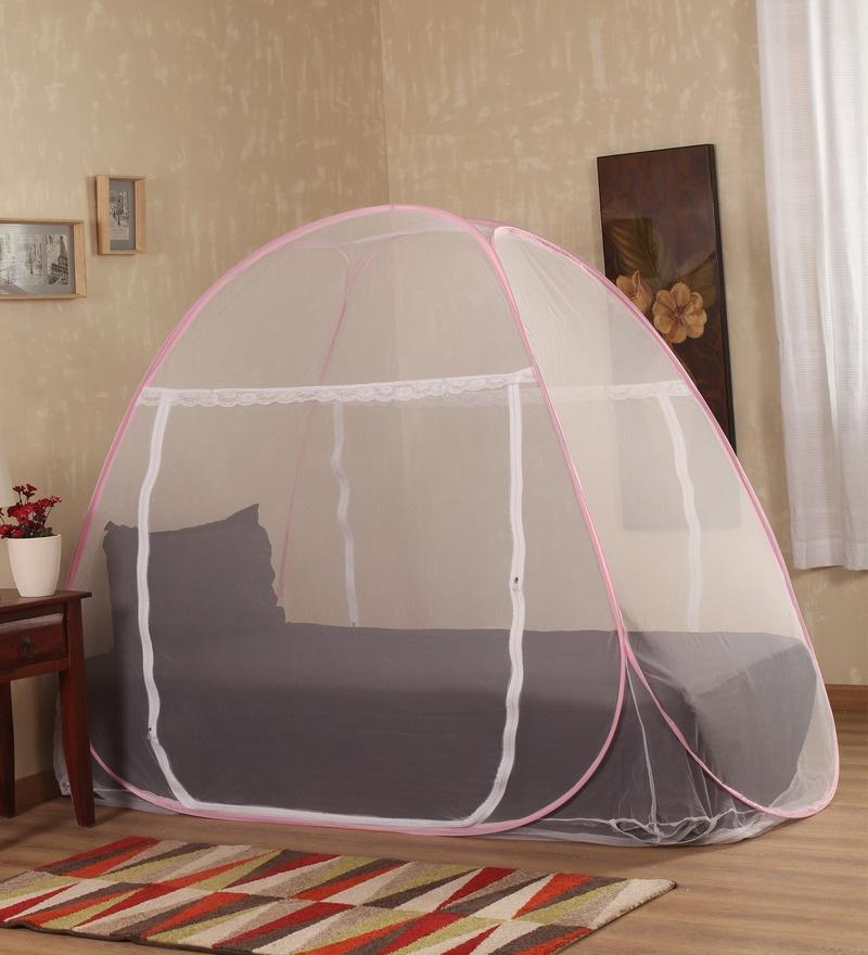 Prc Net Terylene Pink & White Single Bed Mosquito Net