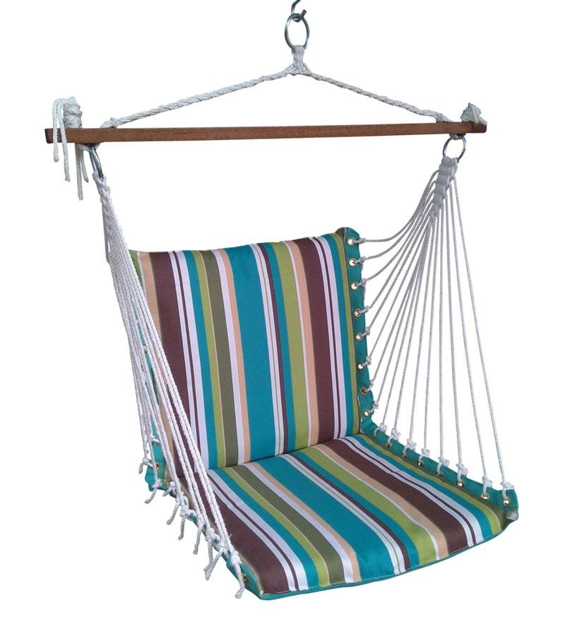 Premium Cushioned Swing Chair in Ocean Stripe by Hang It