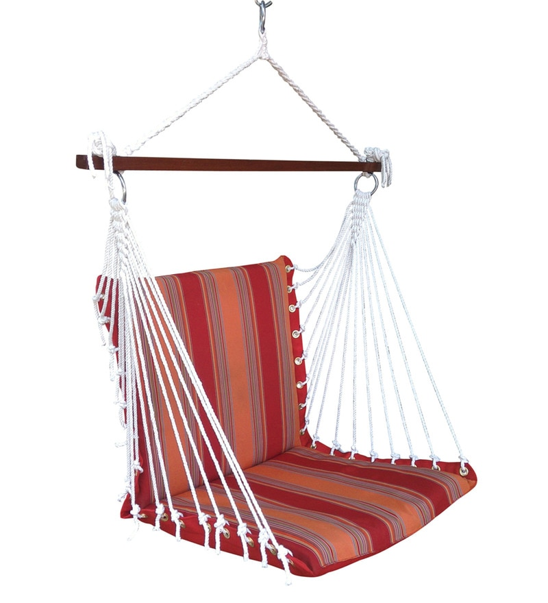 Premium Cushioned Swing Chair in Sunrise Stripe by Hang It