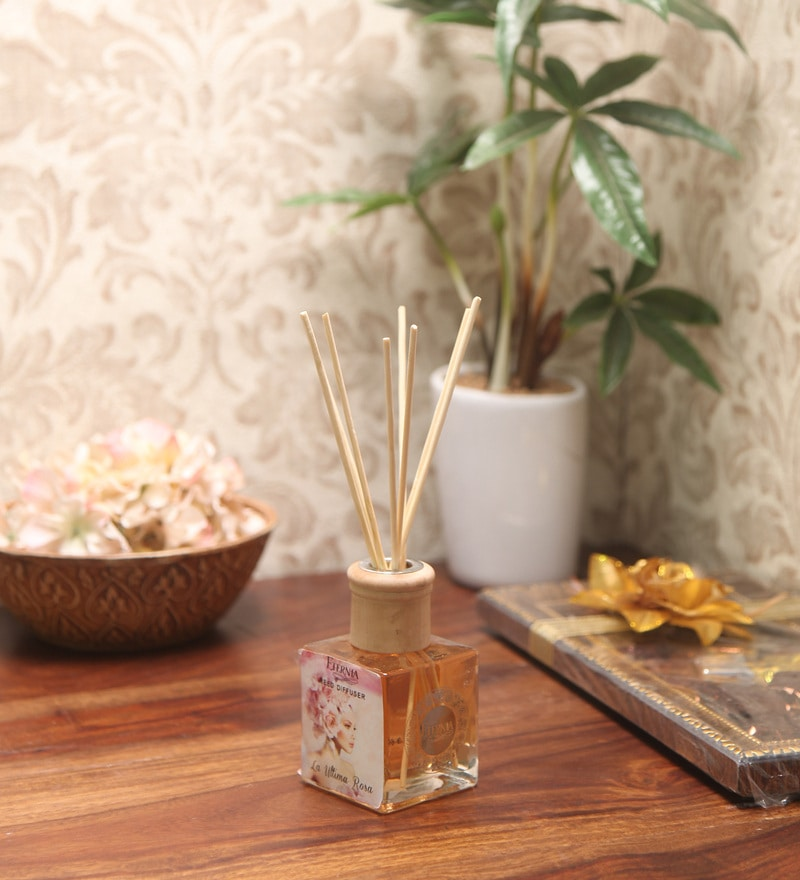 La Uttima Rosa Reed Diffuser Bottle with 10 Rattan Reed Sticks by Premsons