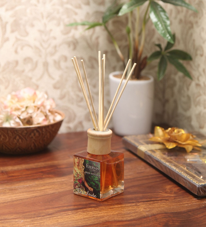 Te Verde Reed Diffuser Bottle with 10 Rattan Reed Sticks by Premsons