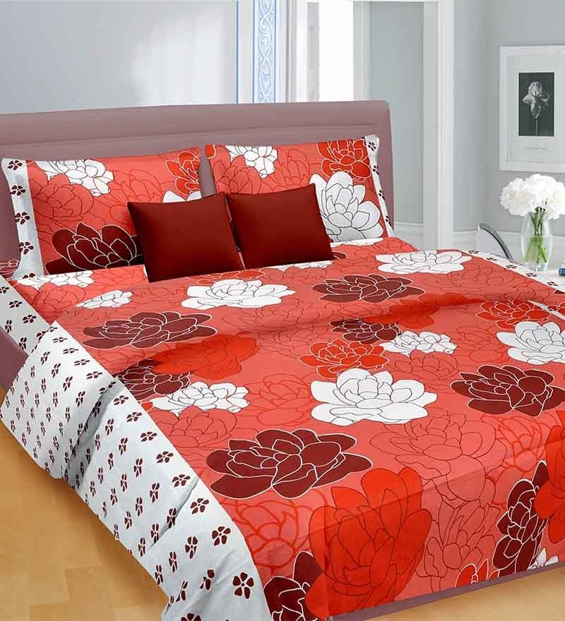 Scarlet Love Red Cotton Double Bed Sheet by Cortina