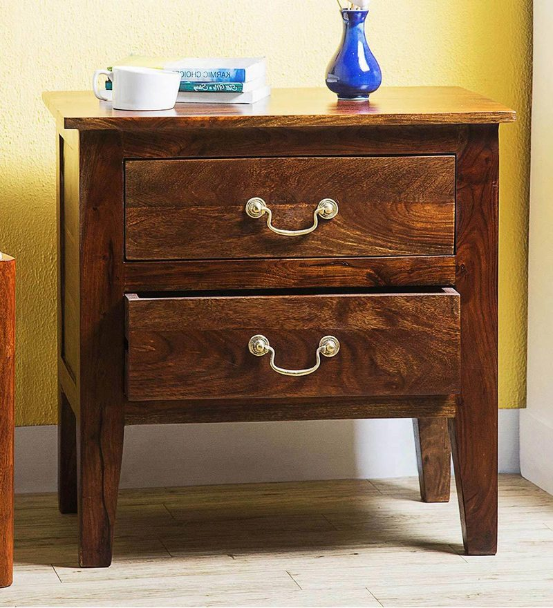Prescott Two Drawer Bed Side Table in Provincial Teak Finish by Woodsworth