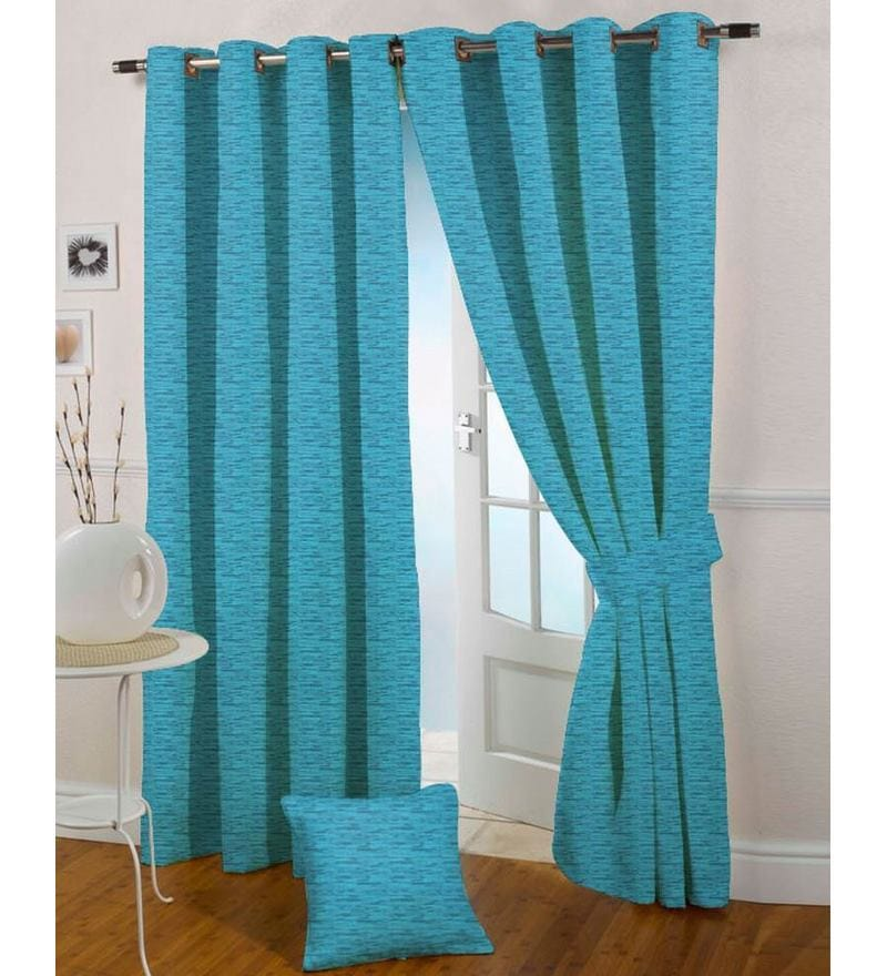 Blue Polyester 84 x 46 Inch Eyelet Door Curtain - Set of 2 by Presto