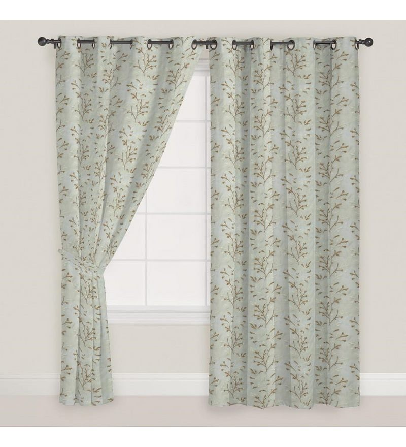 White Polyester 60 x 46 Inch Floral Window Curtain - Set of 2 by Presto