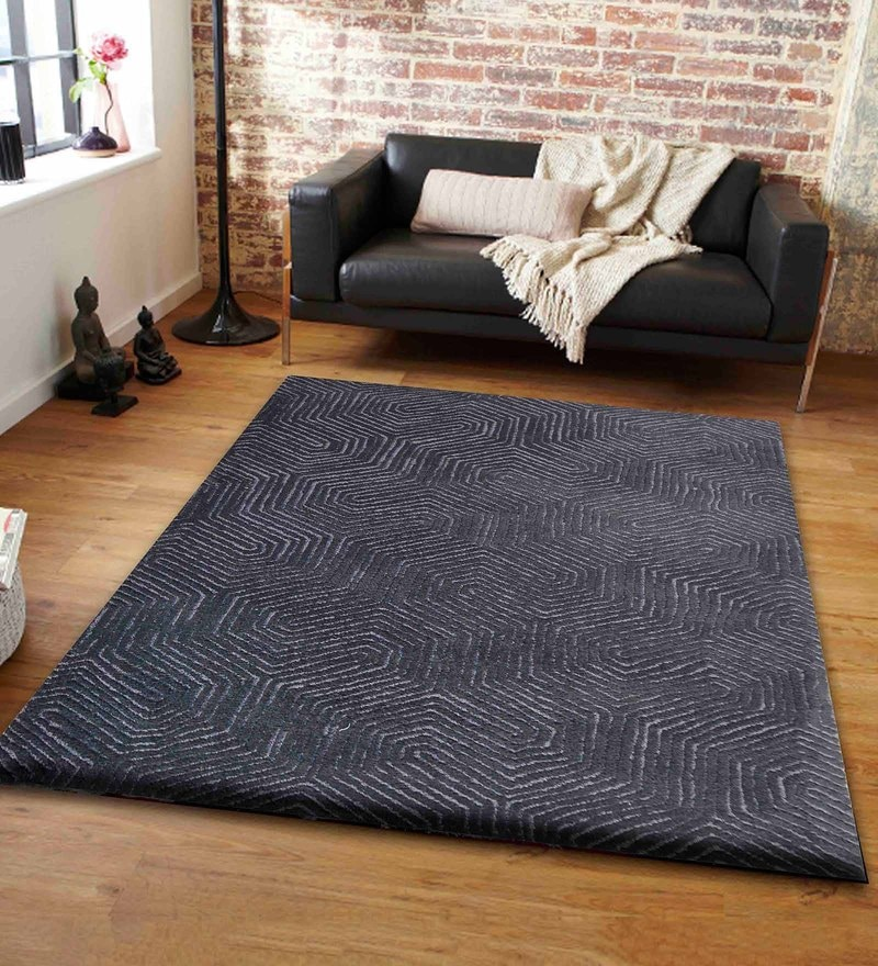 Presto Black and Grey Polyester Tufted Hand Knotted Abstract Carpet
