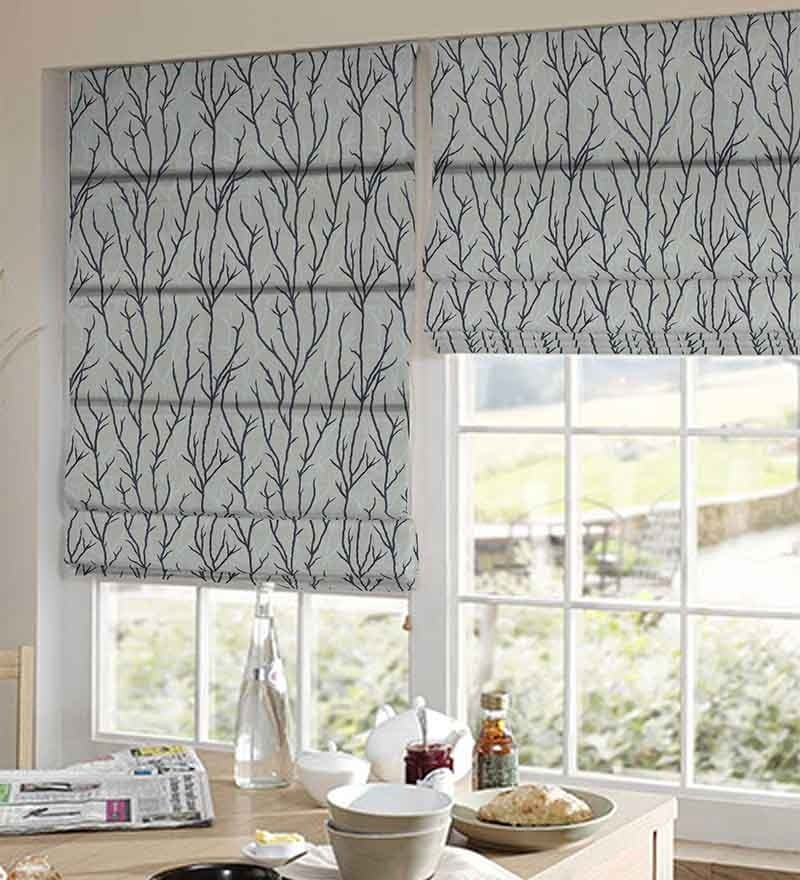 Black Polyester Floral Window Blind by Presto