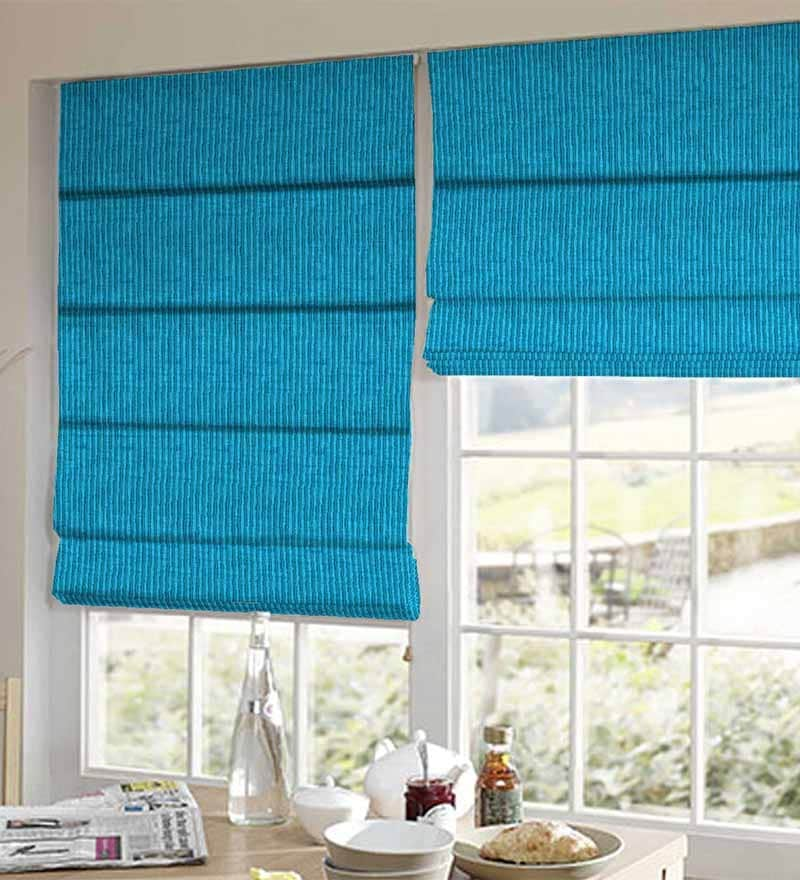 Blue Polyester Striped Window Blind by Presto
