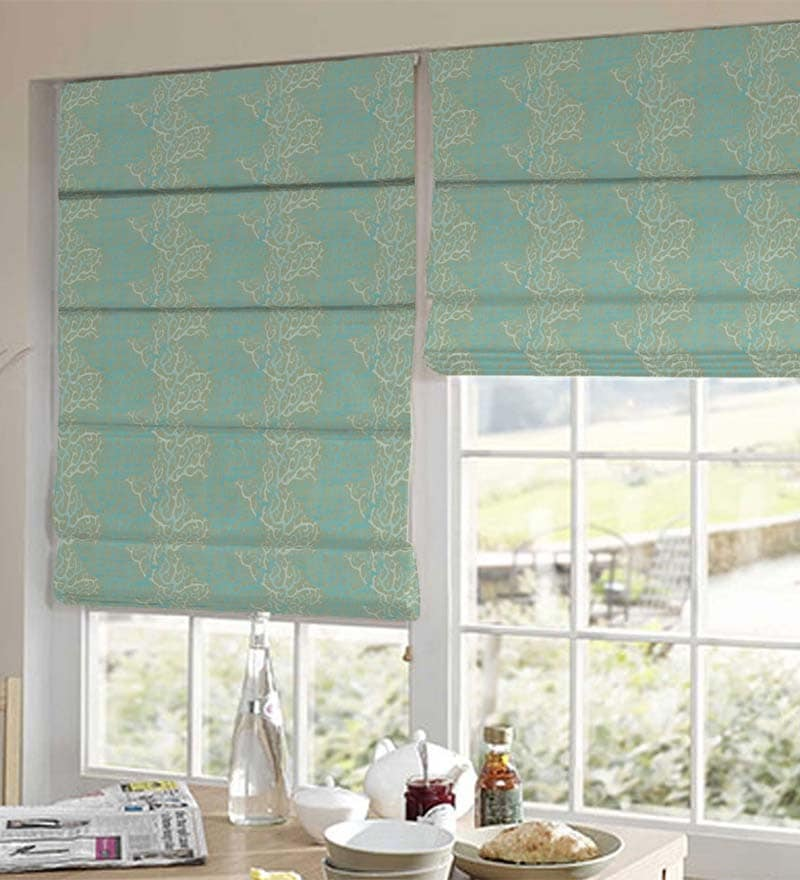 Blue Polyester Abstract Window Blind by Presto