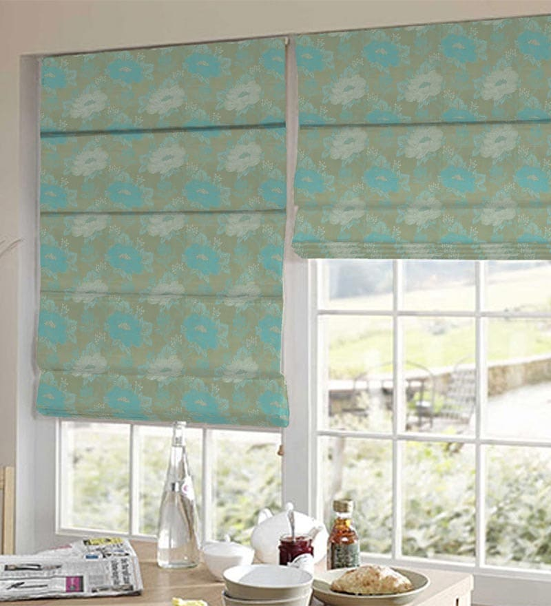 Blue Polyester Floral Window Blind by Presto