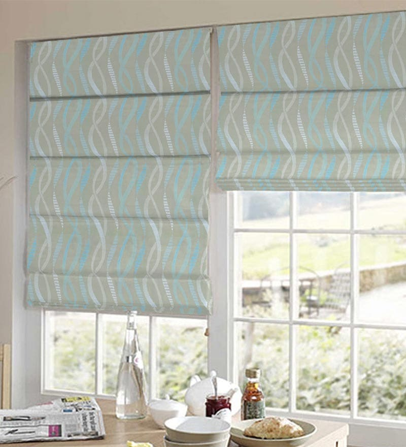Blue Polyester Geometrical Jacquard Window Blind by Presto