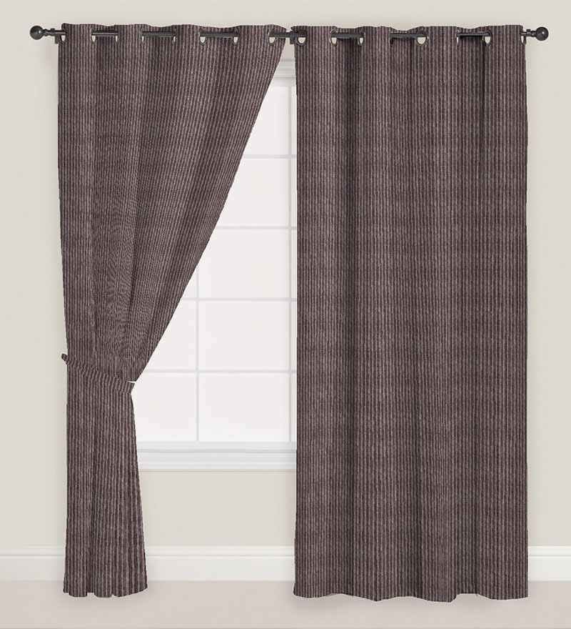 Brown Polyester 60 x 46 Inch Stripes Window Curtain - Set of 2 by Presto