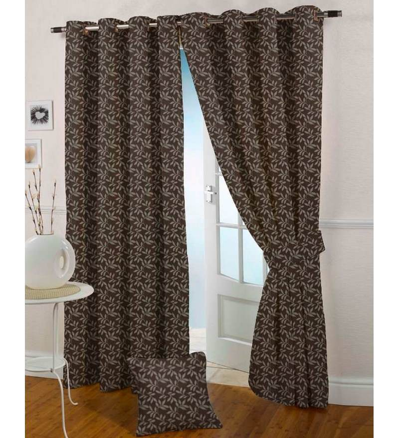 Brown Poly Cotton 47 x 59 Inch Eyelet Window Curtain by Presto
