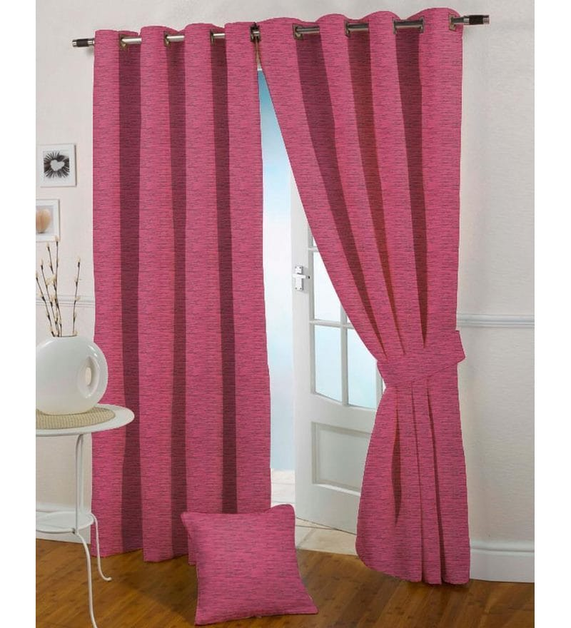 Pink Polyester 60 x 44 Inch Solid Eyelet Window Curtain - Set of 2 by Presto