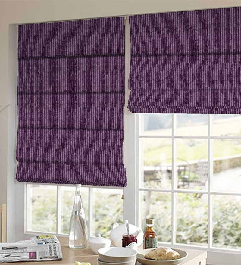 Purple Polyester Striped Window Blind by Presto
