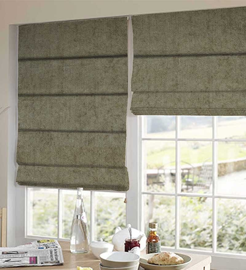 Grey Polyester Solid Window Blind by Presto