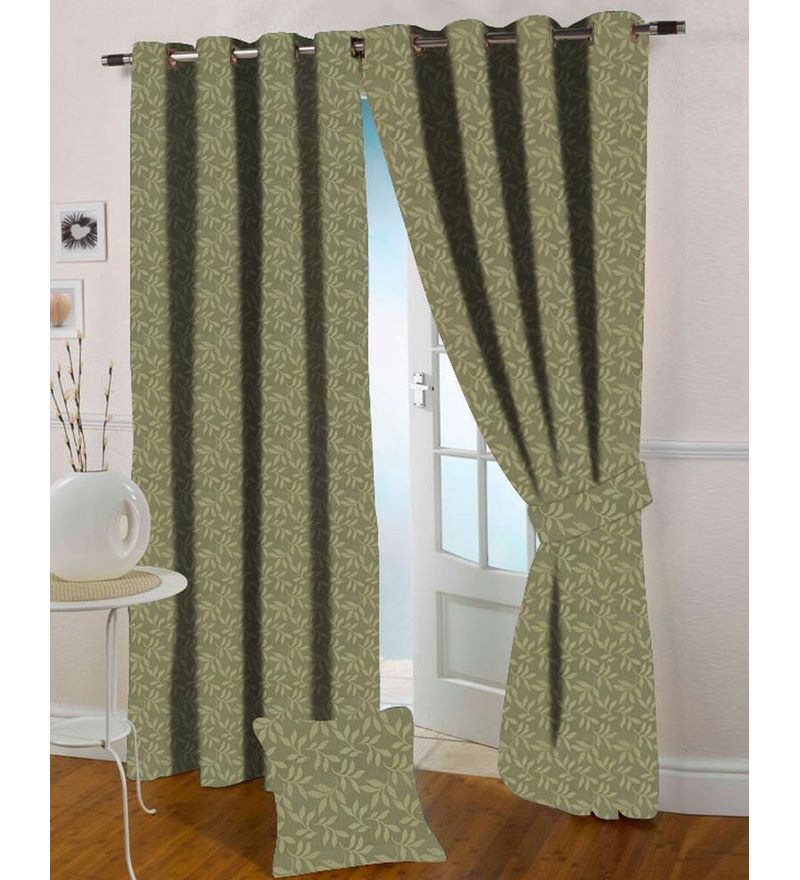 Green Polyester 108 x 46 Inch Leafy Design Long Door Curtain - Set of 2 by Presto