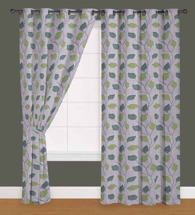 Green Polyester 60 x 40 Inch Floral Eyelet Window Curtain - Set of 2 by Presto