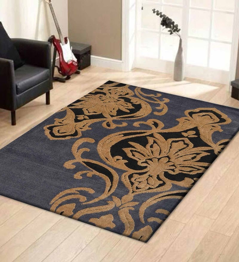 Grey and Gold Polyester Abstract Patterns Carpet by Presto