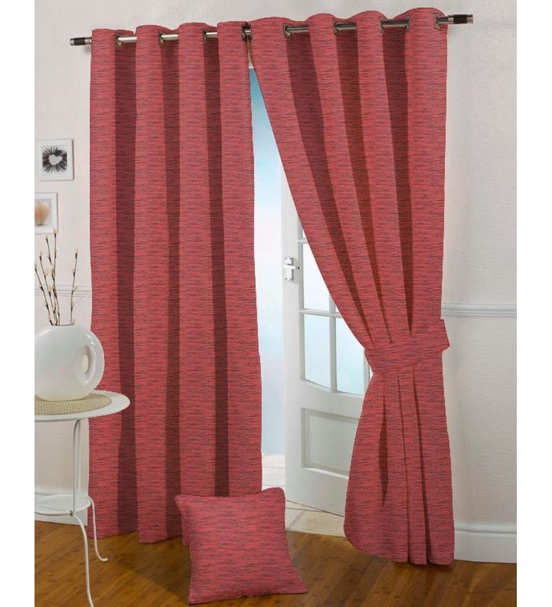 Red Polyester 108 x 46 Inch Eyelet Door Curtain - Set of 2 by Presto