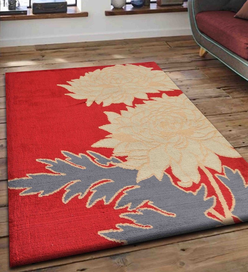 Presto Multicolour Polyester Tufted Hand Knotted Floral Carpet