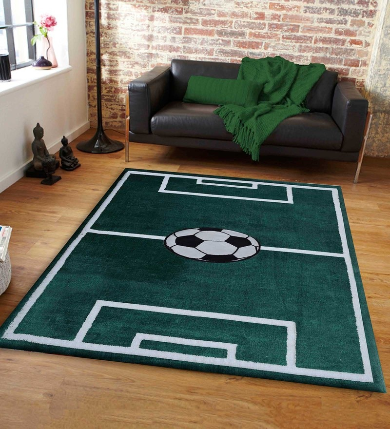 Presto Multicolour Polyester Tufted Hand Knotted Football Field shaped
