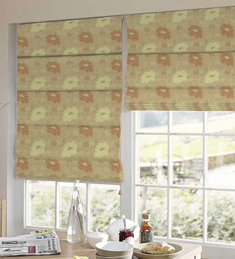 Orange Polyester Floral Jacquard Window Blind by Presto