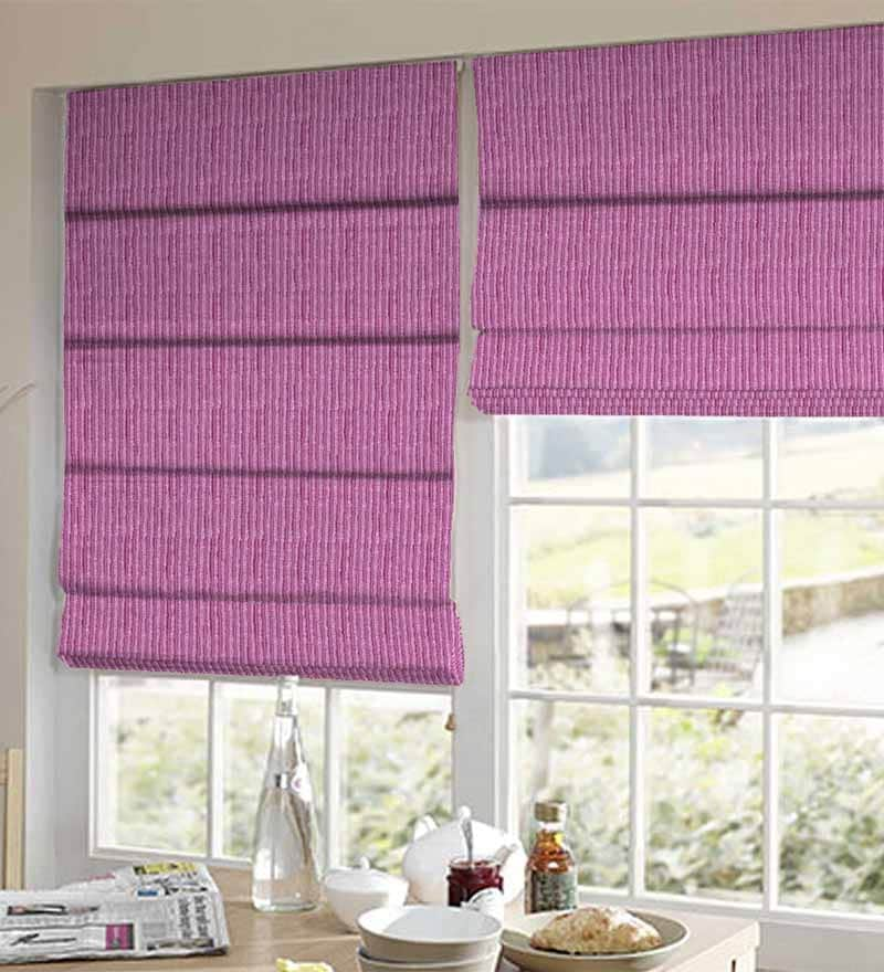 Pink Polyester Striped Window Blind by Presto