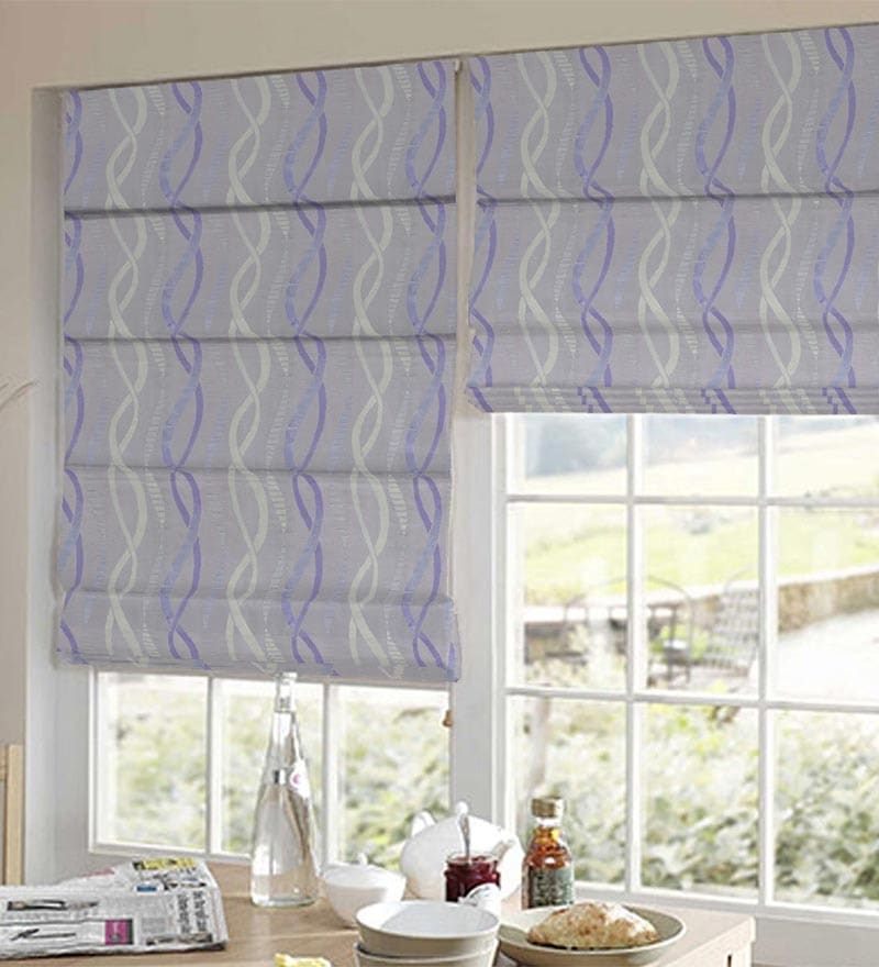 Purple Polyester Geometrical Jacquard Window Blind by Presto
