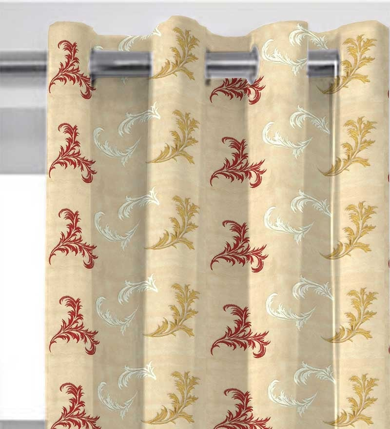 Multicolor Polyester 84 x 46 Inch Abstract Tissue Embroidered with Lining Door Curtain - Set of 2 by Presto