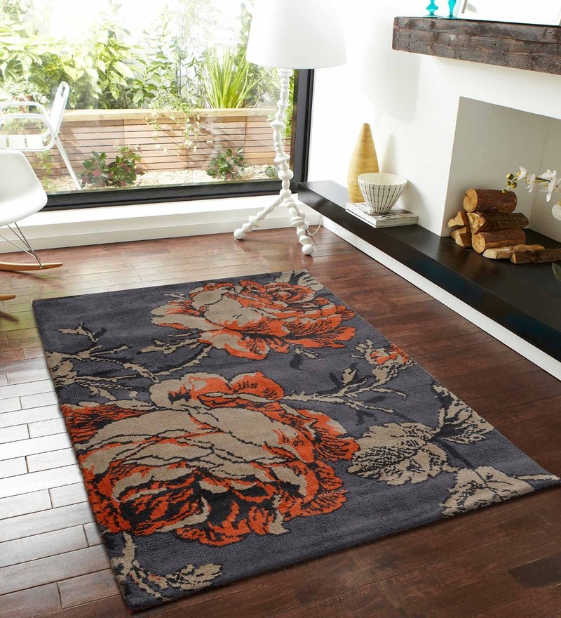 Rust and Grey Polyester Nature and Florals Carpet by Presto
