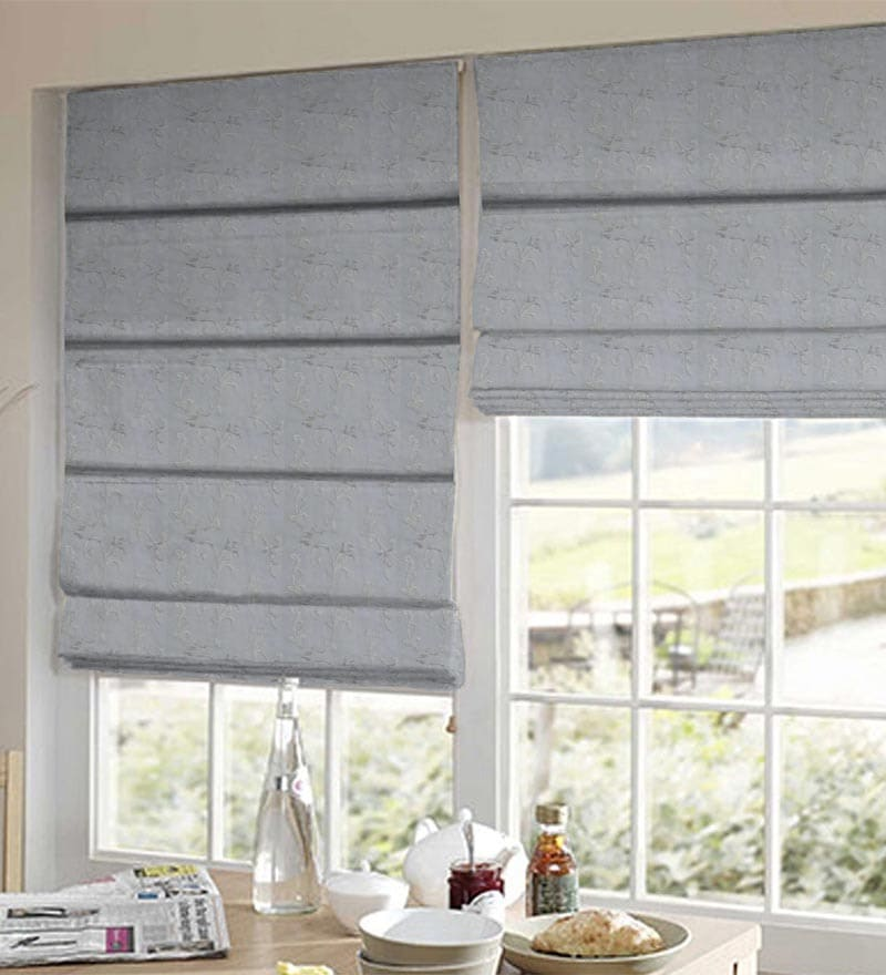 White Polyester Floral Window Blind by Presto
