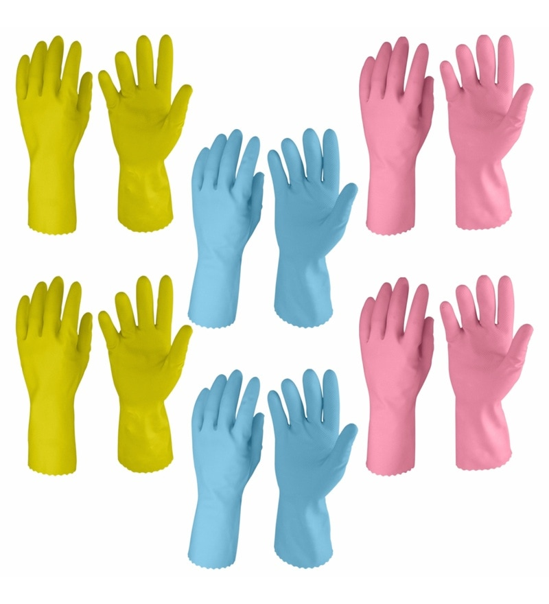 Primeway Multicolour Rubberex Just Gloves Flocklined Hand Gloves Combo Savers Pack - Set of 12