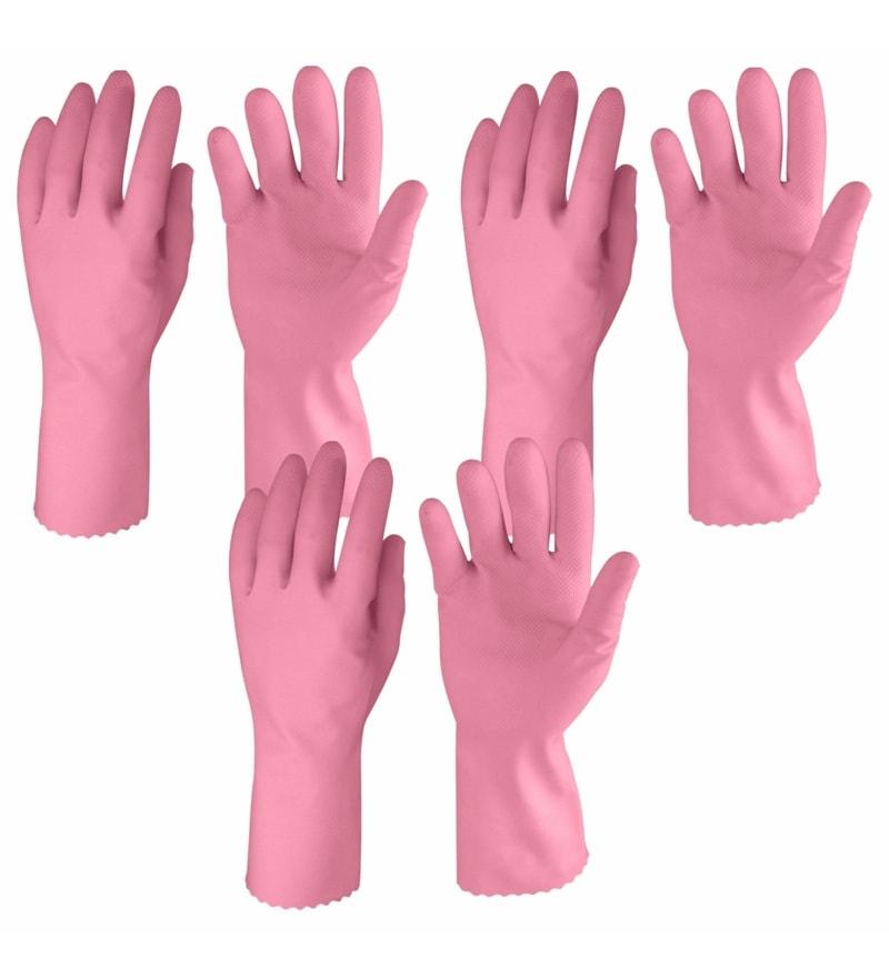 Primeway Pink Rubberex Just Gloves Flocklined Hand Gloves - Set of 6