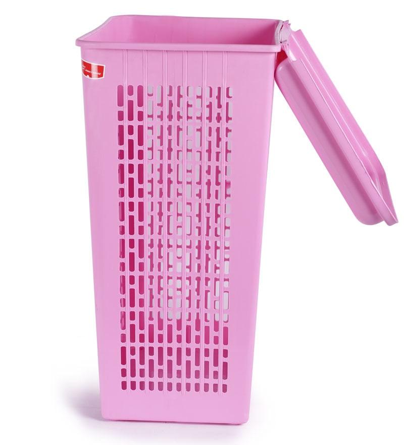 Buy Princeware Pink Plastic Laundry Basket Online