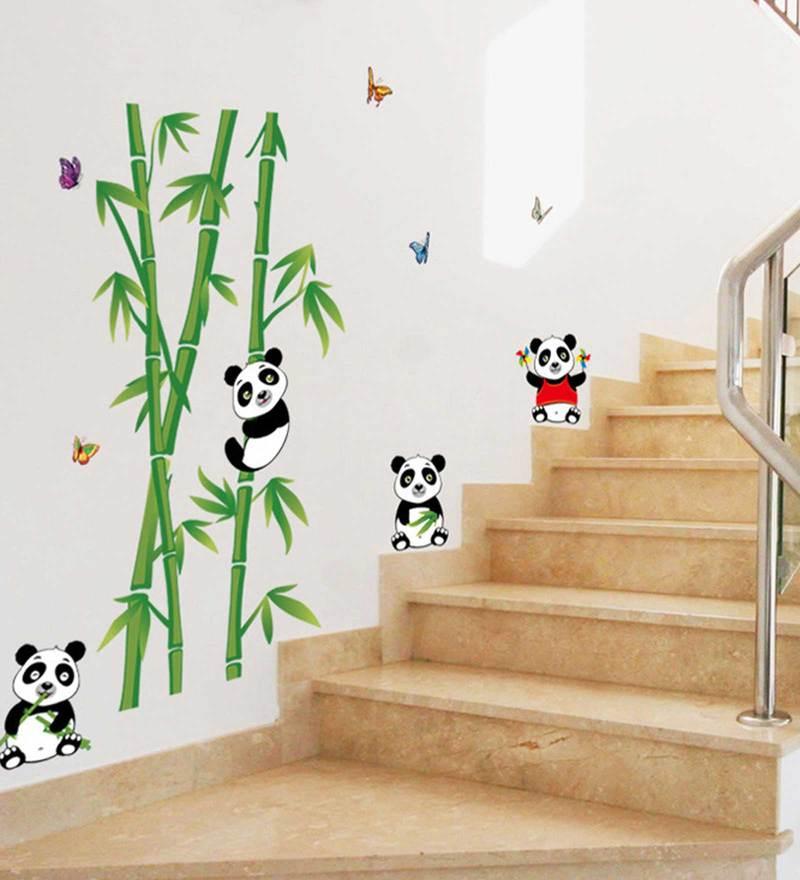 Bamboo Tree Panda Birds Wall Sticker by Print Mantras