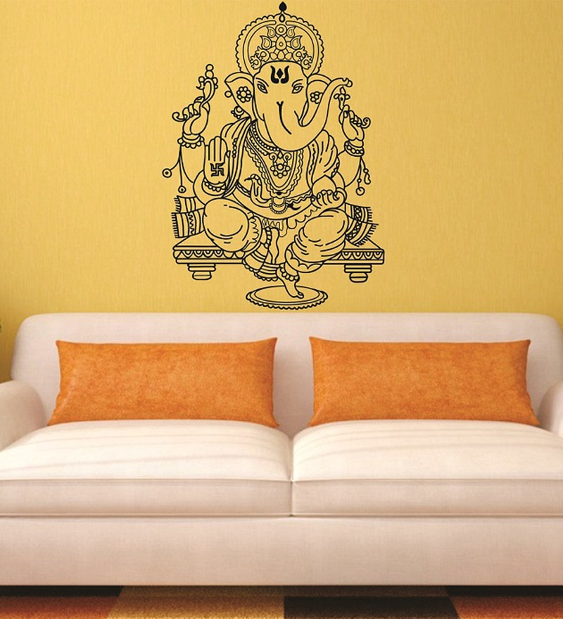 Large Beautiful Black God Ganesha PVC Wall Sticker by Print Mantras