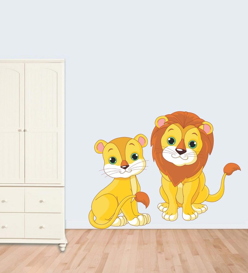 PVC Wall Stickers Cute Lion and Cub by Print Mantras