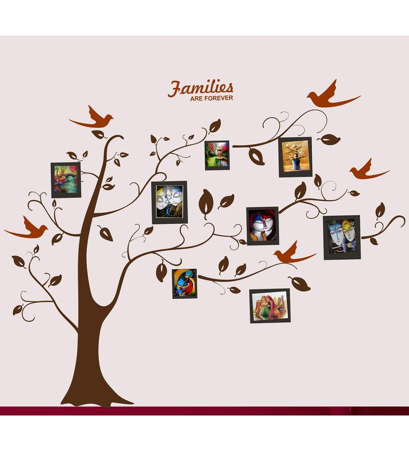 PVC Wall Stickers Family Photo Tree and Birds by Print Mantras