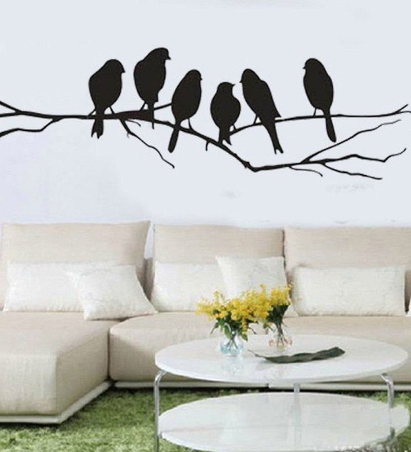 Wall Stickers Beautiful Black Sparrows on Branches by Print Mantras