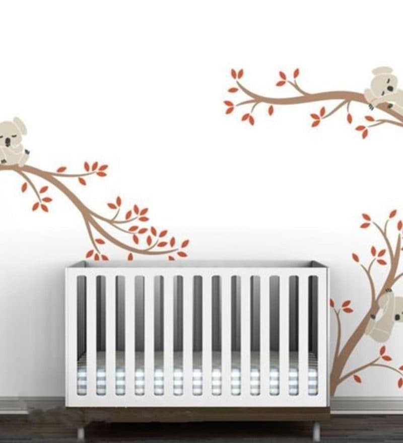 S Cute Koalas on Tree branches Wall Sticker by Print Mantras