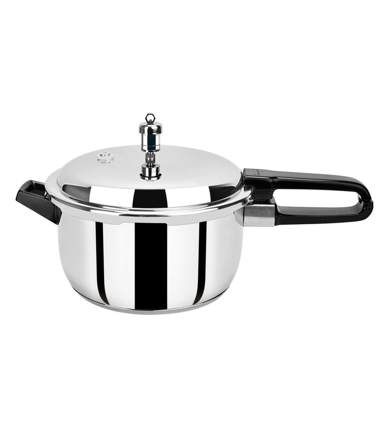Pristine Silver Stainless Steel 5 L Induction Base Pressure Cooker