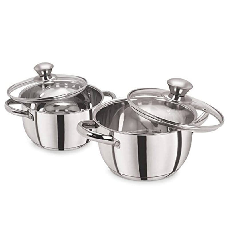 Pristine Induction Compatible Stainless Steel Sandwich Base Casseroles with Glass Lids - Set of 2
