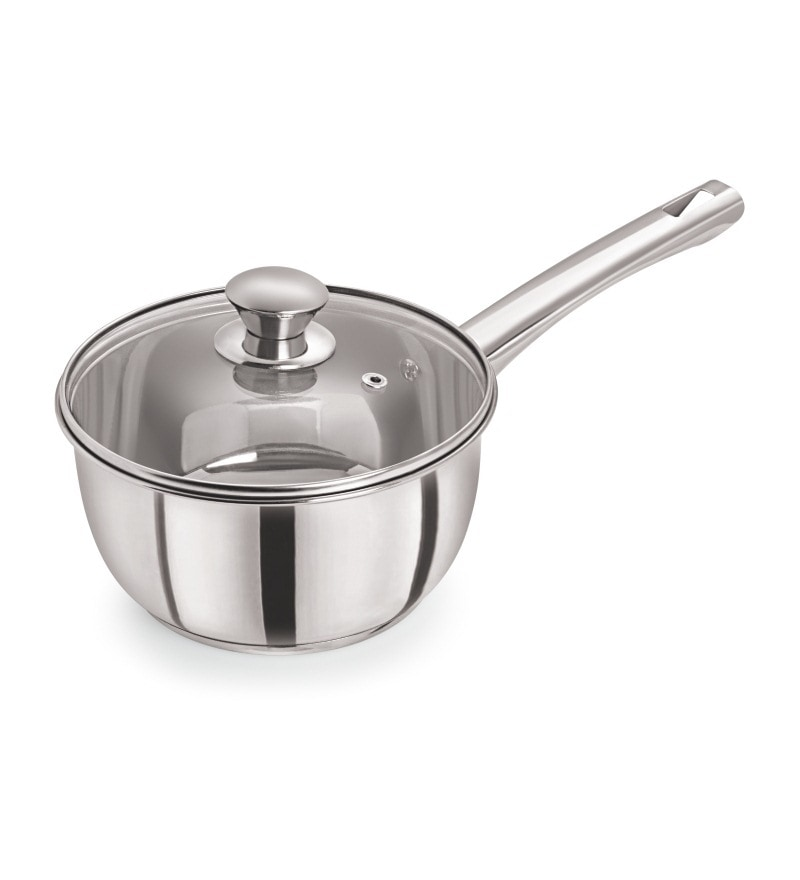 Stainless Steel 8 Inch Induction Sandwich Base Delux Saucepan by Pristine