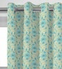 Blue Jacquard Floral Door Curtain - Set of 2 by Presto