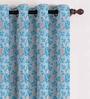 Presto Blue Polyester Floral Eyelet Curtain - Set of 2