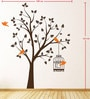PVC Wall Stickers Beautiful Brown Tree Orange Birds and Cage by Print Mantras