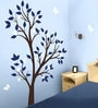 PVC Wall Stickers Tree Blue Leaves Grey Flowers Butterflies by Print Mantras