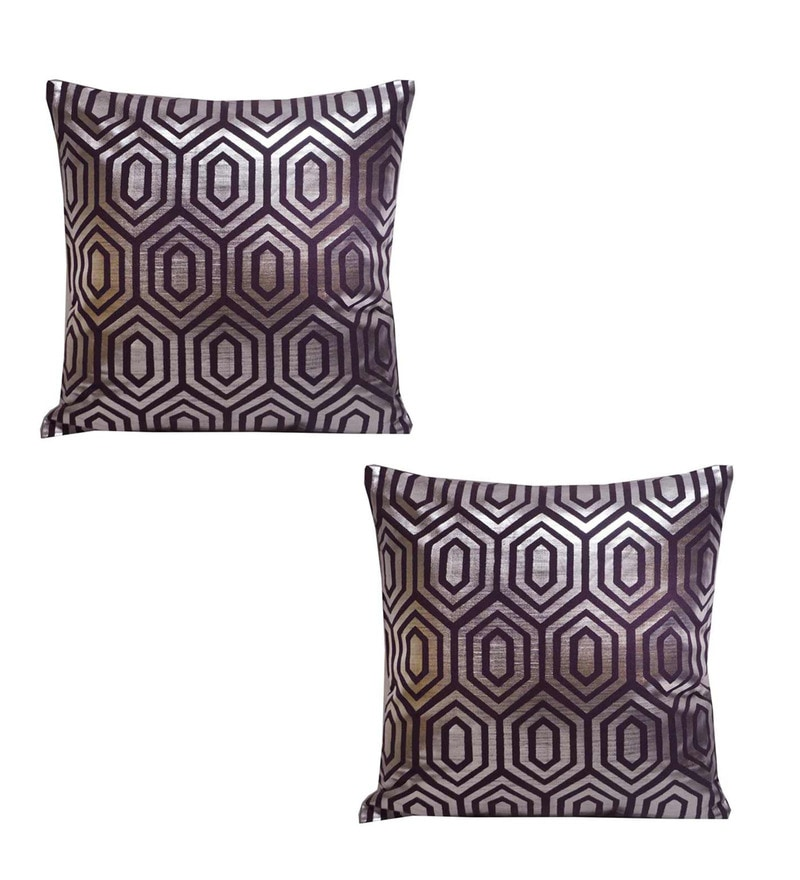 Purple Cotton 18 x 18 Inch Cushion Covers - Set of 2 by R Home