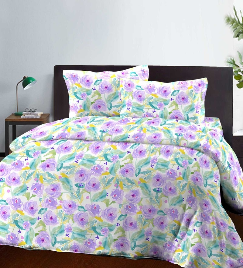 Purple Cotton King Size Bed Sheet - Set of 3 by Bombay Dyeing